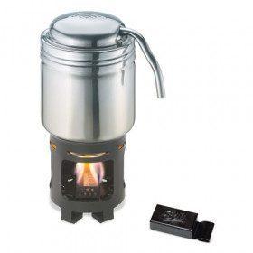 Coffee machine with burner