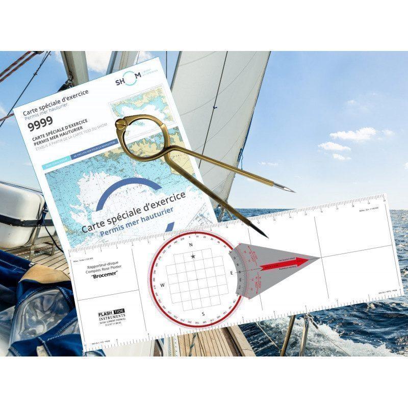 Pack Permis Hauturier Plus (carte + rapporteur + compas lyre) | Picksea