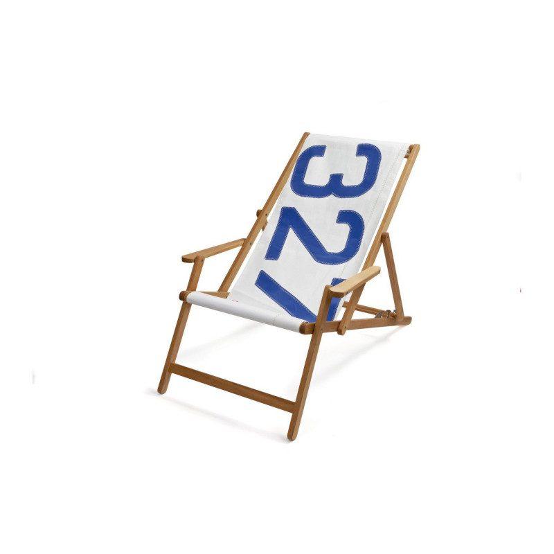 Oak deckchair with number 727 Sailbags | Picksea