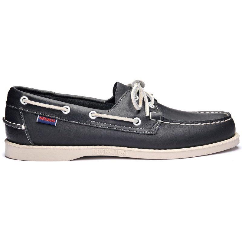 Sebago Docksides Leather Blue Navy   Boat shoes for men and women