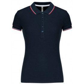 Polo piqué femme bleu navy rouge et blanc
