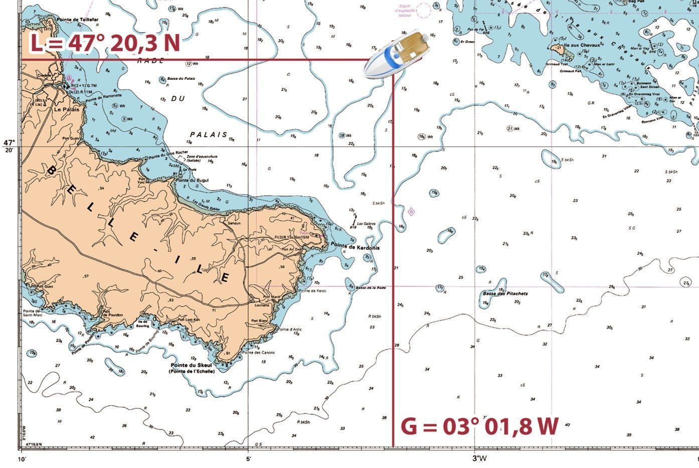 Position sur la carte marine
